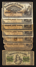 Canadian Currency: , DC-1b 25¢ 1870. DC-15a 25¢ 1900, Four Examples. DC-15b 25¢ 1900,Two Examples.. ... (Total: 7 notes)