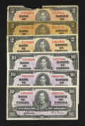 Canadian Currency: , A Selection of King George VI Issues.. ... (Total: 6 notes)