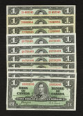Canadian Currency: , An Attractive Assortment of King George VI $1 Notes.. ... (Total: 10 notes)