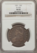 Bust Half Dollars, 1831 50C VF25 NGC. O-102. NGC Census: (16/1390). PCGS Population(14/1550). Mintage: 5,873,660. Numismedia Wsl. Price for p...