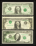 Error Notes:Error Group Lots, Fr. 1910-J $1 1977A Federal Reserve Note. About Uncirculated;. Fr.1916-L $1 1988A Federal Reserve Note. Very Fine;. Fr. 2028-...(Total: 3 notes)