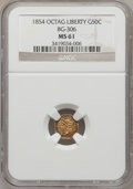 California Fractional Gold: , 1854 50C Liberty Octagonal 50 Cents, BG-306, R.4, MS61 NGC. NGCCensus: (3/11). PCGS Population (7/67). (#10426)...