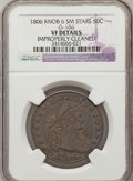 Early Half Dollars: , 1806 50C Knobbed 6, Small Stars -- Improperly Cleaned -- NGCDetails. VF. O-106. NGC Census: (0/61). PCGS Population (6/53...