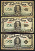 Canadian Currency: , DC-25n $1 1923. DC-25o $1 1923 Two Examples. ... (Total: 3 notes)