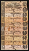 Confederate Notes:1864 Issues, T69 $5 1864 Nine Examples.. ... (Total: 9 notes)