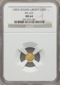 California Fractional Gold, (1853) 25C Liberty Round 25 Cents, BG-223, Low R.4, MS64 NGC. NGCCensus: (6/1). PCGS Population (20/4). (#10408)...