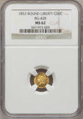 California Fractional Gold: , 1853 50C Liberty Round 50 Cents, BG-428, R.3, MS62 NGC. NGC Census:(14/9). PCGS Population (77/34). (#10464)...