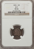 Bust Dimes: , 1835 10C VF25 NGC. JR-9. NGC Census: (5/428). PCGS Population(14/466). Mintage: 1,410,000. Numismedia Wsl. Price for prob...