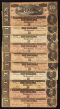 Confederate Notes:1864 Issues, T68 $10 1864 Ten Examples.. ... (Total: 10 notes)