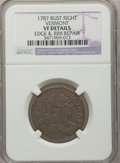 Colonials, 1787 COPPER Vermont Copper, Bust Right -- Edge and Rim Repair --NGC Details. VF. NGC Census: (0/4). PCGS Population (3/13)...