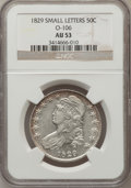 Bust Half Dollars: , 1829 50C Small Letters AU53 NGC. O-106. NGC Census: (84/617). PCGSPopulation (81/580). Mintage: 3,712,156. Numismedia Wsl...
