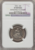 Seated Quarters: , 1852 25C -- Improperly Cleaned -- NGC Details. XF. NGC Census:(1/43). PCGS Population (3/43). Mintage: 177,060. Numismedia...