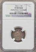 Seated Dimes: , 1866-S 10C -- Improperly Cleaned -- NGC Details. VF. NGC Census:(0/21). PCGS Population (1/33). Mintage: 135,000. Numismed...