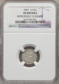 Seated Half Dimes: , 1867 H10C -- Improperly Cleaned -- NGC Details. XF. NGC Census:(0/77). PCGS Population (2/80). Mintage: 8,000. Numismedia ...