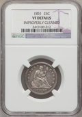 Seated Quarters: , 1851 25C -- Improperly Cleaned -- NGC Details. VF. NGC Census:(0/27). PCGS Population (2/45). Mintage: 160,000. Numismedia...