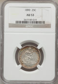 Seated Quarters: , 1890 25C AU53 NGC. NGC Census: (0/167). PCGS Population (4/174).Mintage: 80,000. Numismedia Wsl. Price for problem free NG...