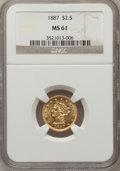 Liberty Quarter Eagles: , 1887 $2 1/2 MS61 NGC. NGC Census: (41/56). PCGS Population (12/68).Mintage: 6,160. Numismedia Wsl. Price for problem free ...