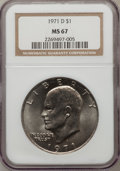 Eisenhower Dollars: , 1971-D $1 MS67 NGC. NGC Census: (42/0). PCGS Population (16/0). Mintage: 68,587,424. Numismedia Wsl. Price for problem free...
