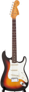 Musical Instruments:Electric Guitars, 1966 Fender Stratocaster Sunburst Electric Guitar, Serial #161352....