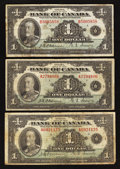 Canadian Currency: , BC-1 $1 1935 Series A Two Examples. BC-1 $1 1935 Series B. . ...(Total: 3 notes)