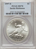 Modern Issues: , 1997-S $1 Jackie Robinson Silver Dollar MS70 PCGS. PCGS Population(52). NGC Census: (98). Mintage: 30,007. Numismedia Wsl....