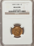 Lincoln Cents, 1909-S VDB 1C MS62 Brown NGC....