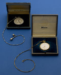 Timepieces:Pocket (post 1900), Hamilton 23 Jewel 922 & Illinois 21 Jewel 12 Size With Boxes & Chains. ... (Total: 2 Items)