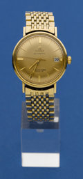 Timepieces:Wristwatch, Omega Gold Top, Steel Back Seamaster. ...
