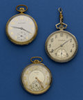 Timepieces:Pocket (post 1900), Three 12 Size Gold Filled Open Face Pocket Watches Runners. ... (Total: 3 Items)