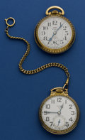 Timepieces:Pocket (post 1900), Two Running Pocket Watches Elgin 17 Jewel & Waltham 25 Jewel.... (Total: 2 Items)