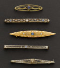 Estate Jewelry:Brooches - Pins, Five Gold Bar Pins. ... (Total: 5 Items)