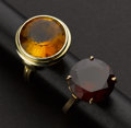 Estate Jewelry:Rings, Two Synthetic Stone Gold Rings. ... (Total: 2 Items)