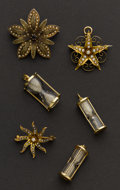 Estate Jewelry:Other , Six Pieces Three Charms & Three Pearl Pins All Gold. ...(Total: 6 Items)