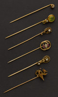 Estate Jewelry:Stick Pins and Hat Pins, Six Gold Stick Pins. ... (Total: 6 Items)