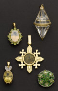 Estate Jewelry:Pendants and Lockets, Five Gold Drops. ... (Total: 5 Items)