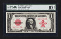 Large Size:Legal Tender Notes, Fr. 40 $1 1923 Legal Tender PMG Superb Gem Unc 67 EPQ.. ...