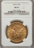 Liberty Double Eagles: , 1893-S $20 MS63 NGC. NGC Census: (268/22). PCGS Population(487/40). Mintage: 996,175. Numismedia Wsl. Price for problem fr...