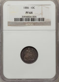 Proof Seated Dimes: , 1886 10C PR64 NGC. NGC Census: (75/100). PCGS Population (70/57).Mintage: 886. Numismedia Wsl. Price for problem free NGC/...