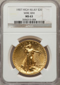 High Relief Double Eagles: , 1907 $20 High Relief, Wire Rim MS63 NGC. NGC Census: (411/693). PCGS Population (942/1412). Mintage: 11,250. Numismedia Wsl...