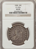 Bust Half Dollars, 1808 50C VF25 NGC. O-102a. NGC Census: (12/376). PCGS Population(25/460). Mintage: 1,368,600. Numismedia Wsl. Price for pr...
