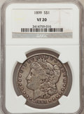 Morgan Dollars: , 1899 $1 VF20 NGC. NGC Census: (7/7645). PCGS Population (17/10304).Mintage: 330,846. Numismedia Wsl. Price for problem fre...