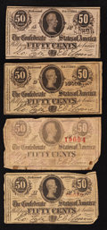 Confederate Notes:1863 Issues, 1863 and 1864 50 Cent Notes.. ... (Total: 4 notes)