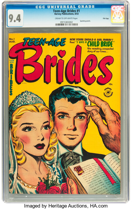 Teen-Age Brides #1 File Copy (Harvey, 1953) CGC NM 9.4 Cream to off-white pages....