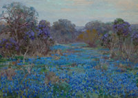 JULIAN ONDERDONK (American, 1882-1922) Field of Bluebonnets with Trees Oil on canvas laid on board <