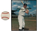 Baseball Collectibles:Others, Mickey Mantle Signed Baseball, Photograph and Unsigned AdvertisingBroadside. ...