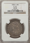 Bust Half Dollars, 1808/7 50C XF40 NGC. O-101. NGC Census: (19/98). PCGS Population(31/89). Numismedia Wsl. Price for problem free NGC/PCGS ...