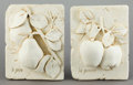 Other:American, A PAIR OF BISQUE PORCELAIN PLAQUES: LA POMME AND LE POIRE .1997. Marks: 1997, HPI, HCH. 9 x 7 inches (22.9 ...(Total: 2 Items)