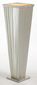 Furniture , A LIGHTED ART DECO STYLE SILVERED WOOD PEDESTAL . Late 20th century . 42 inches high (106.7 cm). ...
