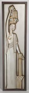 Furniture : American, AN ART DECO STYLE CARVED AND SILVERED WOOD PANEL . Late 20thcentury . 87-3/4 x 24 inches (222.9 x 61.0 cm). ...
