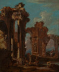 Fine Art - Sculpture, European:Other , Attributed to NICCOLÒ CODAZZI (Italian, 1642-1693). Pair ofArchitectural Capriccios. Oil on canvas. 29-3/4 x 24-3/4 inc...(Total: 2 Items)